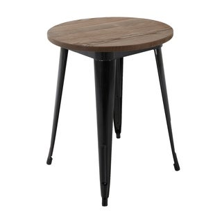 "Brage Living 30"" Round Metal Dining Table With Wood Top"