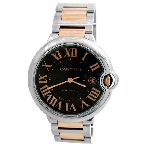 Pre-owned 42mm Cartier 18k Rose Gold and Stainless Steel Ballon Blue Watch