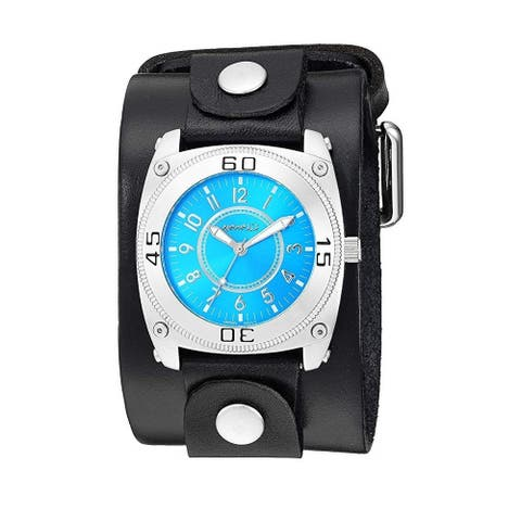 Nemesis 'Classic Divers' Mix & Match Watch with Wide Leather Cuff Band NLB012L