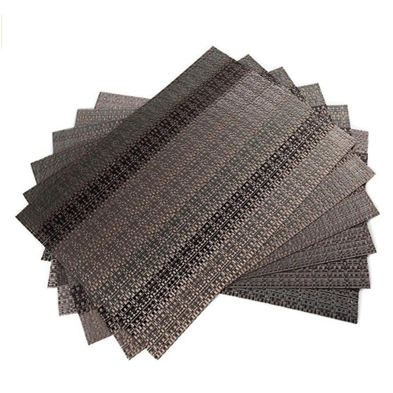 Soft Crossweave Woven Vinyl Placemat Set of 6 Brown 18 x 12