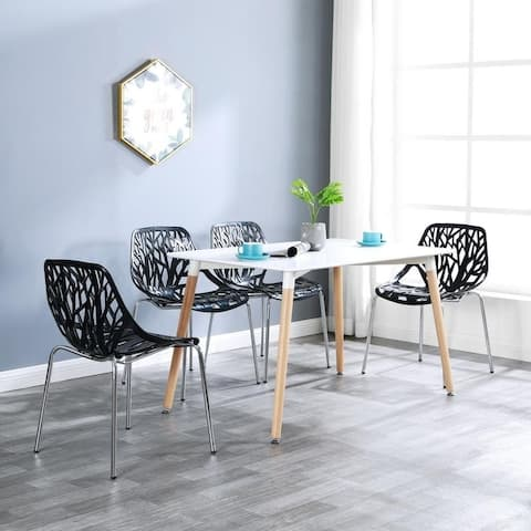 Modern Kitchen Dining Chairs Stackable Accent Side Chairs (Set of 4)