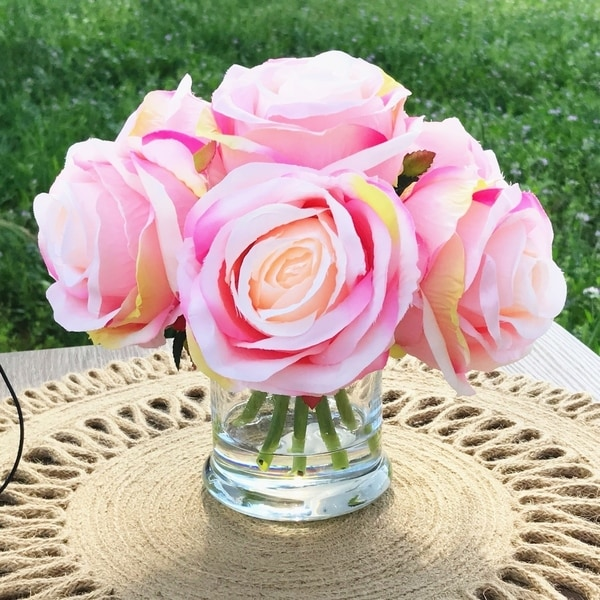 Enova Home Pink 7 Heads Open Rose Silk Flower Arrangement in Clear Glass Vase with Faux Water