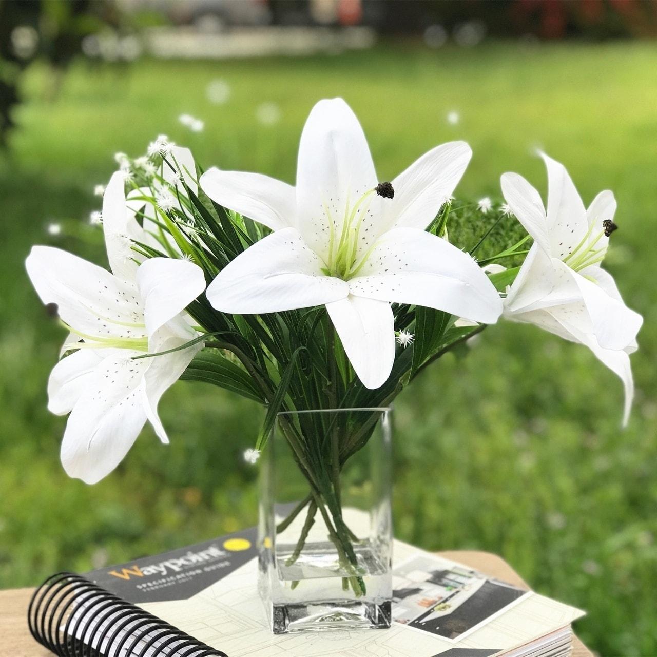 Artificial silk  Flower Arrangement  Yellow Tiger Lily In Heart Vase  SALE