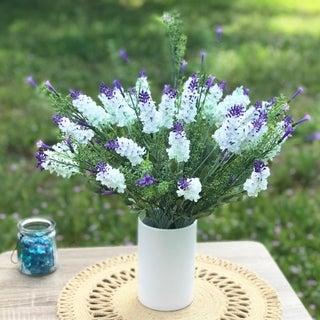 Enova Home White and Purple Lavender Arrangement with White Ceramic Vase