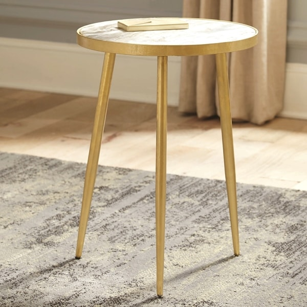 Modern Design Brass and Marble Accent Table