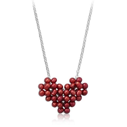 Sterling Silver Cultured Freshwater Pearl Red Heart Necklace