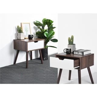 FurnitureR Mid Century Modern End Table Coffee Table with Drawer