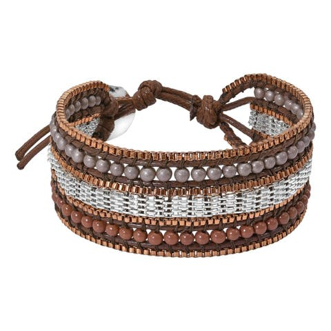 Handmade Boho Chic Stone Beads Chainmail on Snake Cord Bracelet (Thailand)