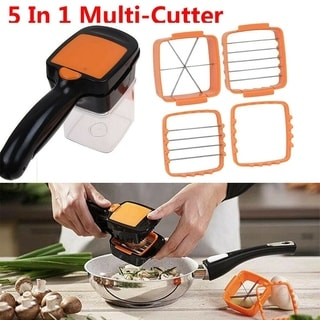 5 in 1 Multifunctional Quick Stainless Food Fruit Vegetable Cutter Slicer Chopper Nicer Dicer with Container Green Orange