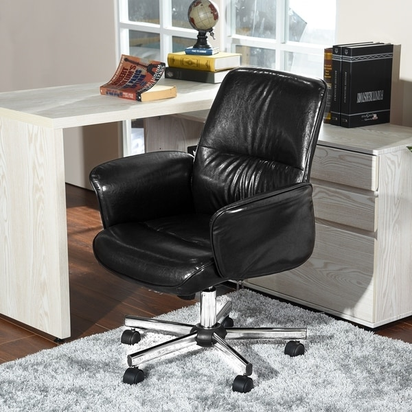 FurnitureR Office Chair PU Leather High Back Black, Brown