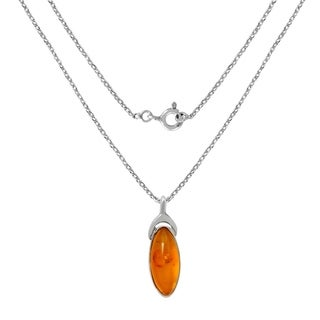4 0 Carat Yellow Glass Marquise Cab Sterling Silver Pendant Necklace