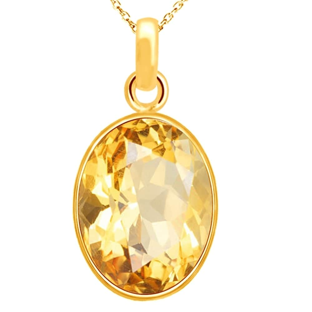 Sterling Silver 2ct Round Citrine And Shell Pendant Chain Necklace 24