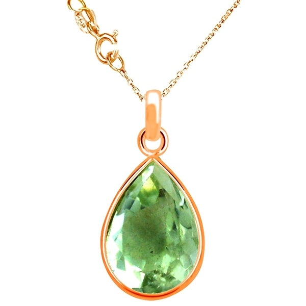 547421d1d98832 Shop Rose Gold Overlay Silver Green Amethyst Pendant Necklace - Free ...