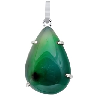 61 Carat Green Agate 925 Sterling Silver Pear Cab Pendant Necklace