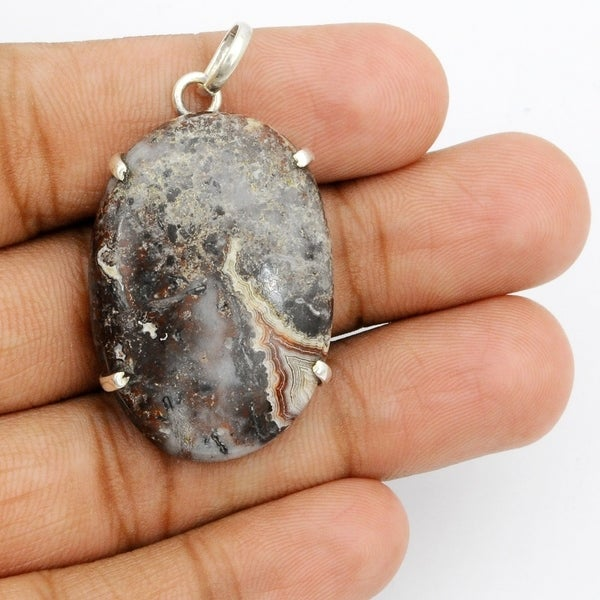 Solid 925 Sterling Silver Designer Jewelry Natural Mookaite Gemstone Pendant