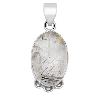 Sterling Silver 15 Carat Black Rutile Quartz Oval Cab Pendant Necklace