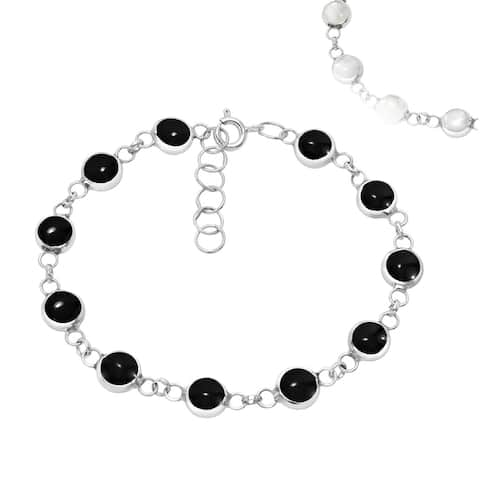 Handmade 2 in 1 Stone and White Shell Sterling Silver Tennis Bracelet (Thailand)