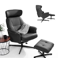 FurnitureR Leisure Recliner Chaise Chair with Ottoman Black