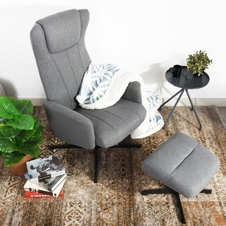 FurnitureR Leisure Recliner Chaise Chair with Ottoman Grey