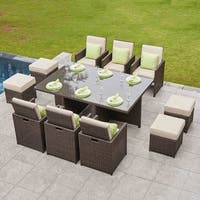 11-piece Outdoor Dining Set With Cushions, Wicker Furniture by Moda Furnishings