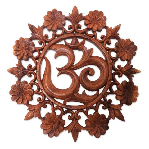 Handmade Lively Om Wood relief panel (Indonesia)