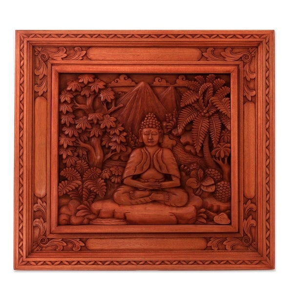 Handmade Buddha in the Forest Wood relief panel (Indonesia)