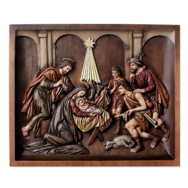 Nativity with Shepherds Cedar relief panel