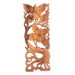 Handmade Hibiscus Branch Wood relief panel  (Indonesia)