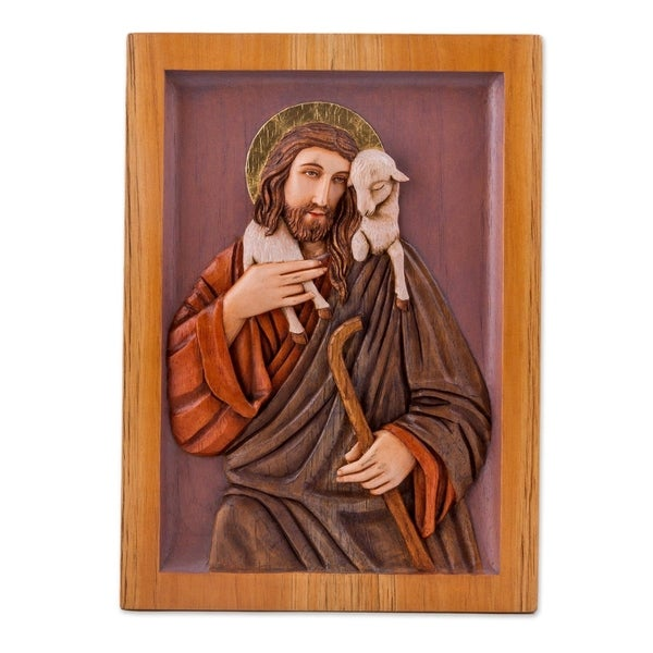Christ the Shepherd Cedar relief panel