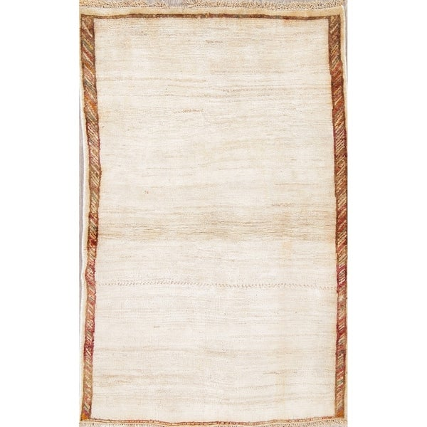 """Solid Gabbeh Hand Knotted Wool Contemporary Persian Area Rug - 5'0"""" x 3'2"""""""
