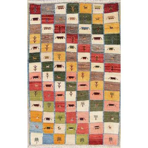 """Gabbeh Persian Modern Oriental Hand-Knotted Wool Foyer Area Rug - 4'11"""" x 3'3"""""""
