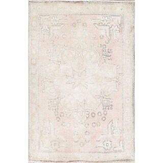 """Vintage Faded Persian Oriental Hand-Knotted Wool Distressed Rug - 4'9"""" x 3'2"""""""