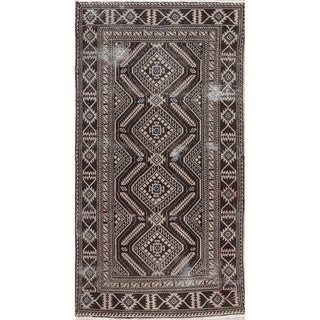 """Vintage Hand-Knotted Persian Shiraz Oriental Worn Wool Area Rug - 6'7"""" x 3'6"""""""