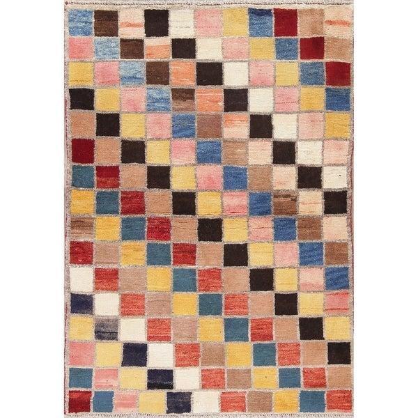 "Hamedan Persian Geometric Hand-Knotted Wool Oriental Area Rug - 4'5"" x 3'3"""