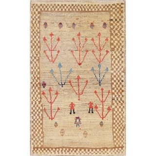 """Gabbeh Persian Tribal Oriental Hand-Knotted Wool Traditional Area Rug - 5'1"""" x 3'3"""""""