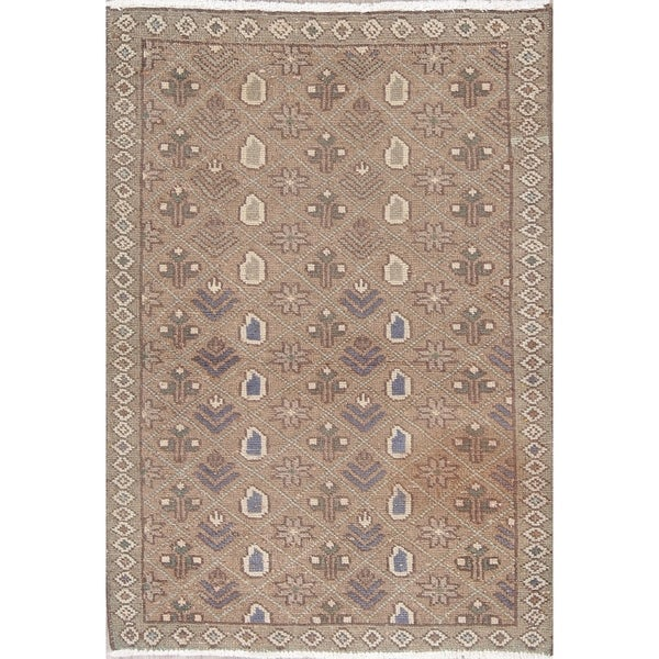 """Traditional Hamedan Distressed Hand Knotted Wool Oriental Persian Rug - 4'2"""" x 2'11"""""""