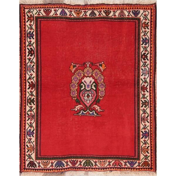 "Vintage Shiraz Qashqai Persian Oriental Hand Knotted Wool Area Rug - 4'6"" x 3'8"""