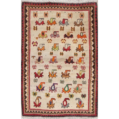"""One-Of-A-Kind Gabbeh Traditional Hand-Knotted Persian Novelty Area Rug - 4'10"""" x 3'4"""""""