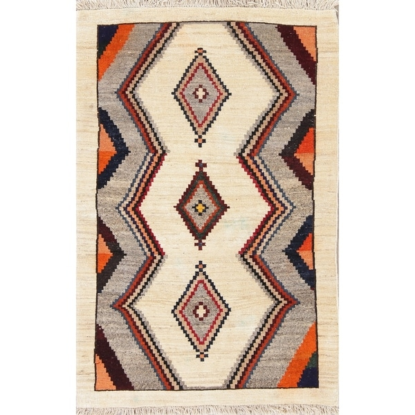 """Super Thick Gabbeh Persian Tribal Hand-Knotted Wool Area Rug - 5'2"""" x 3'4"""""""