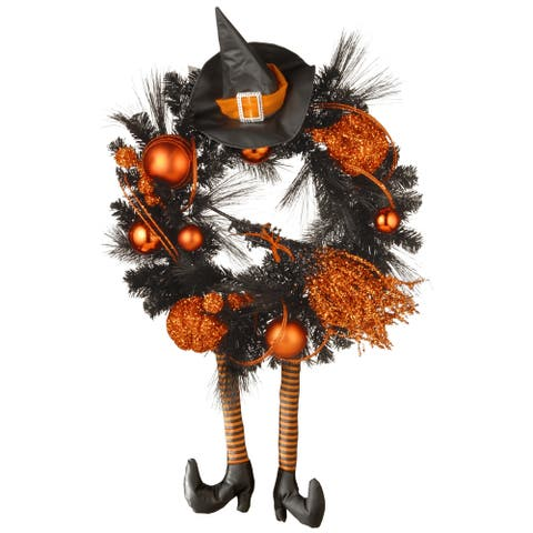Black/Orange 24-inch Halloween Witch Wreath