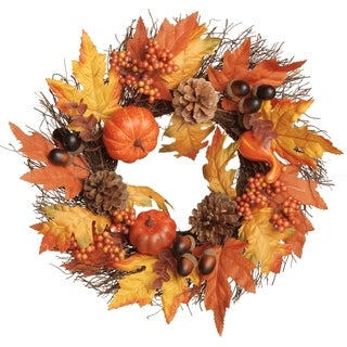 "16"" Pumpkins and Maple Leaves Wreath"