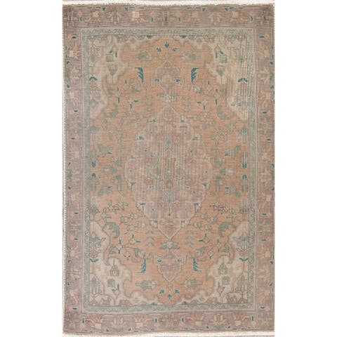 """Vintage Faded Distressed Oriental Wool Hand-Knotted Persian Rug - 4'10"""" x 3'2"""""""