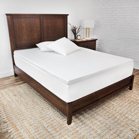 SensorPEDIC Majestic 2-Inch Ventilated Memory Foam Mattress Topper - White