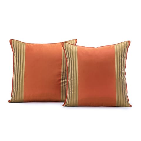 Exclusive Fabrics Waterford Silk Stripe Cushion Cover (Set of 2)