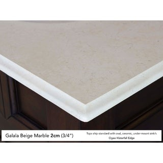 Castilian 60-inch Single Vanity, ADA Compliant in Empire Gray (Oval - 2cm galala beige marble top)