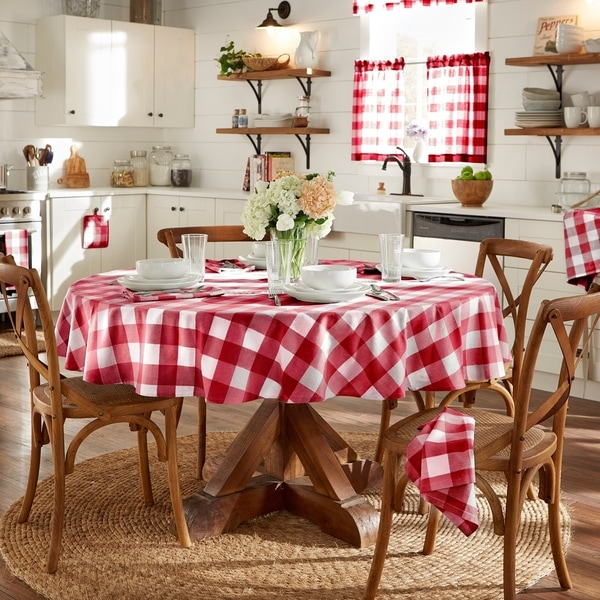 60 by 120 inches Red and White Gingham Now Designs Tablecloth