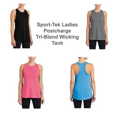 Sport-Tek Ladies Posicharge Tri-Blend Wicking Tank L BLK