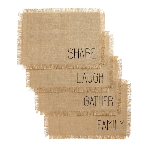 The Gray Barn Rebecca Hill Sentiments 13x19-inch Burlap Placemats (Set of 4) - 13x19
