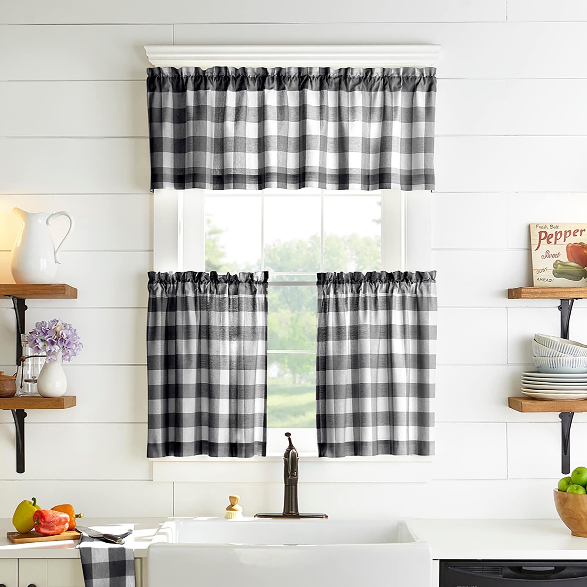 The Gray Barn Emily Gulch Buffalo Check Kitchen Window Tier Set On Sale Overstock 28108775