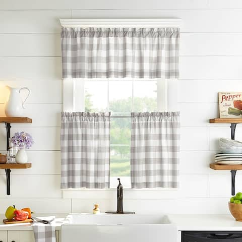 The Gray Barn Emily Gulch Buffalo Check Kitchen Window Tier Set